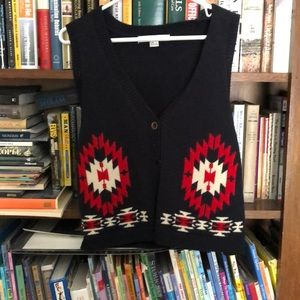 Vest sweater with Aztec print